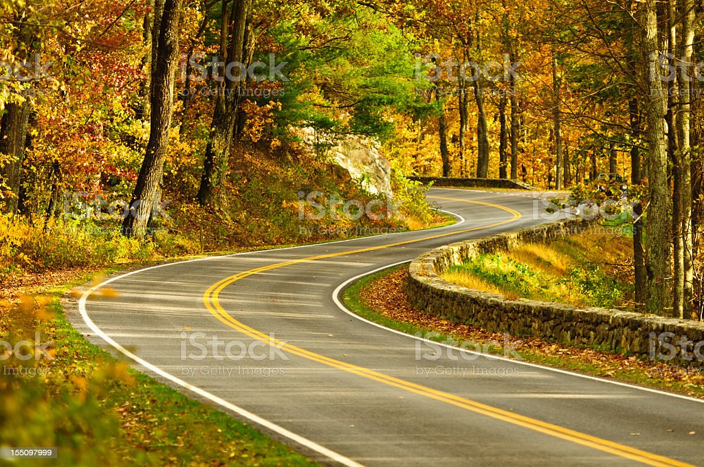 Scenic s curve road in Skyline Drive Virginia stock photo