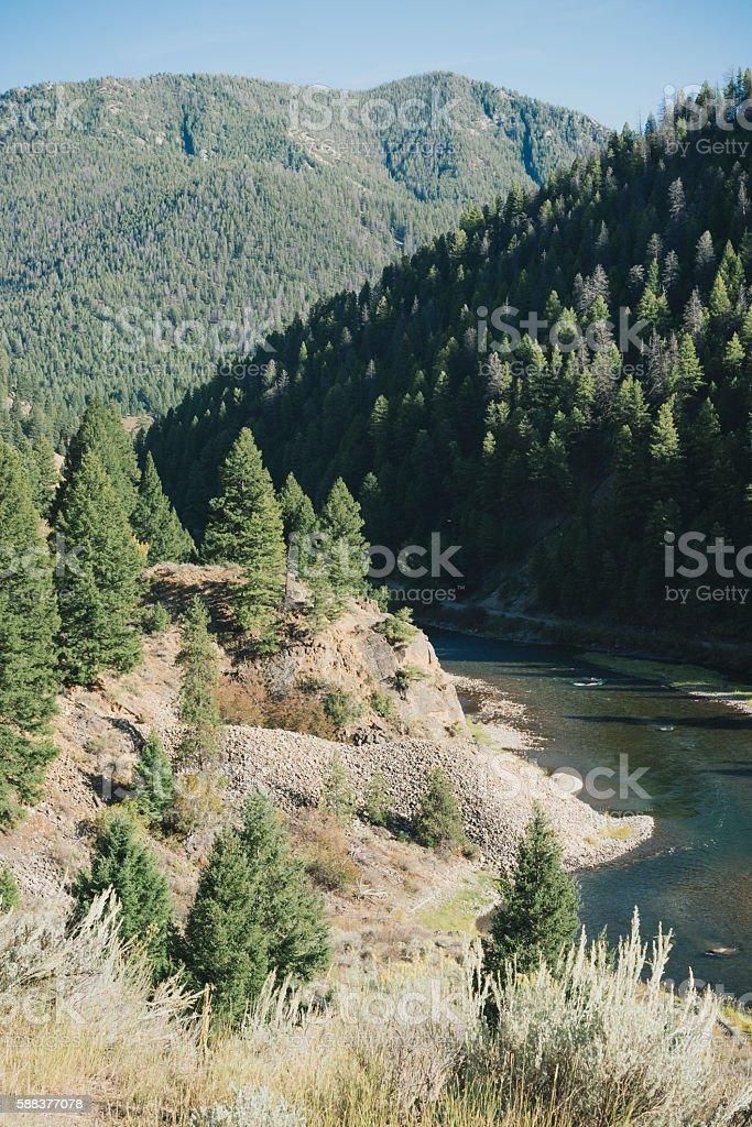 Scenic Salmon River Idaho Western USA Landscape in Summer stock photo