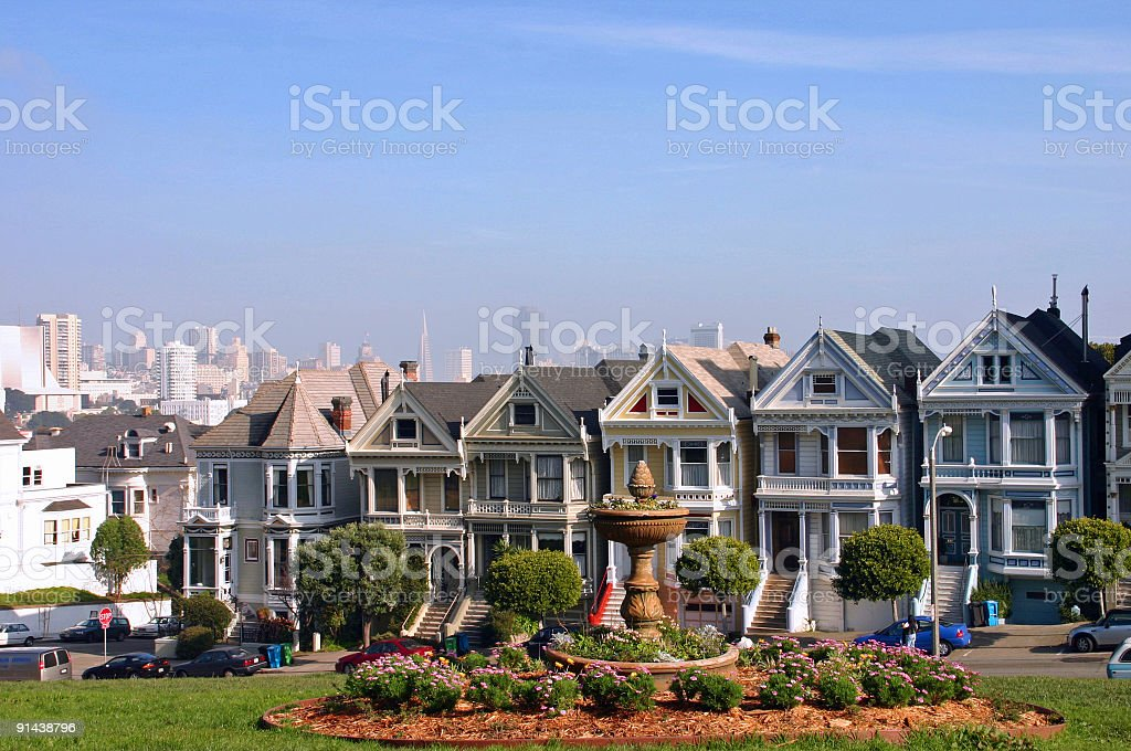 Scenic San Francisco cityscape at Alamo Square (USA) stock photo