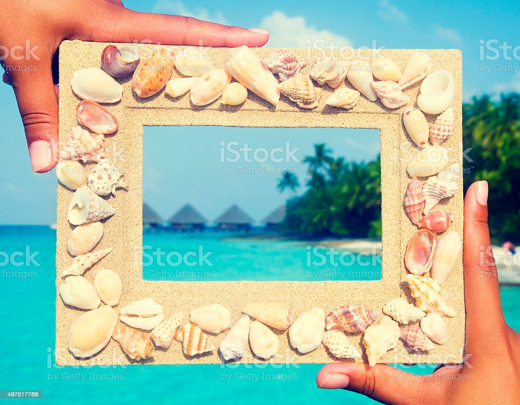 Scenic Sand Picture Frame For Copy Space Concept stock photo