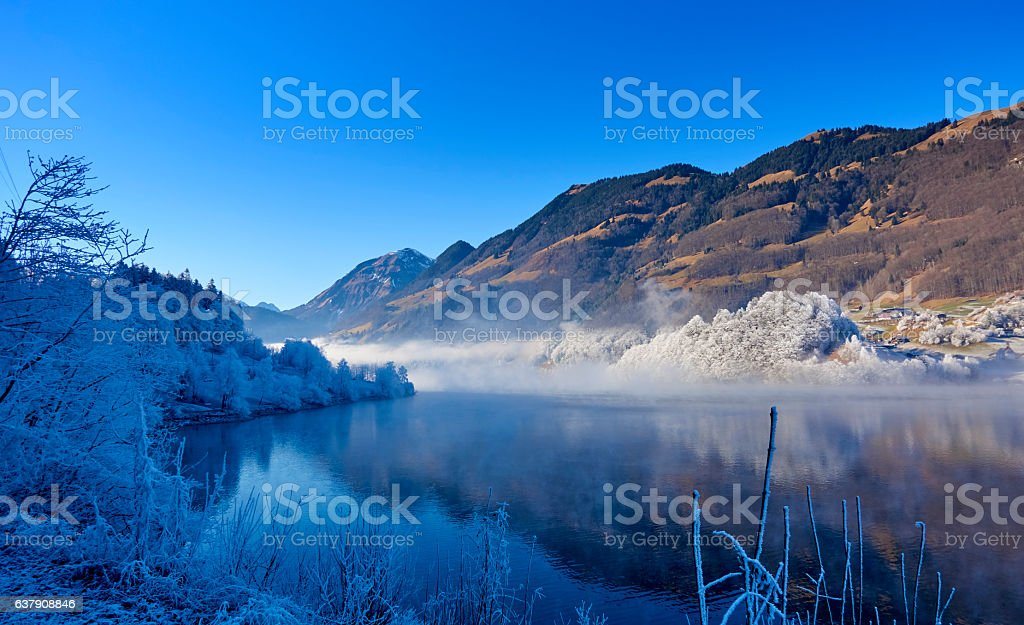 Scenic Sarnersee in the Swiss Bernese Alps In Winter stock photo
