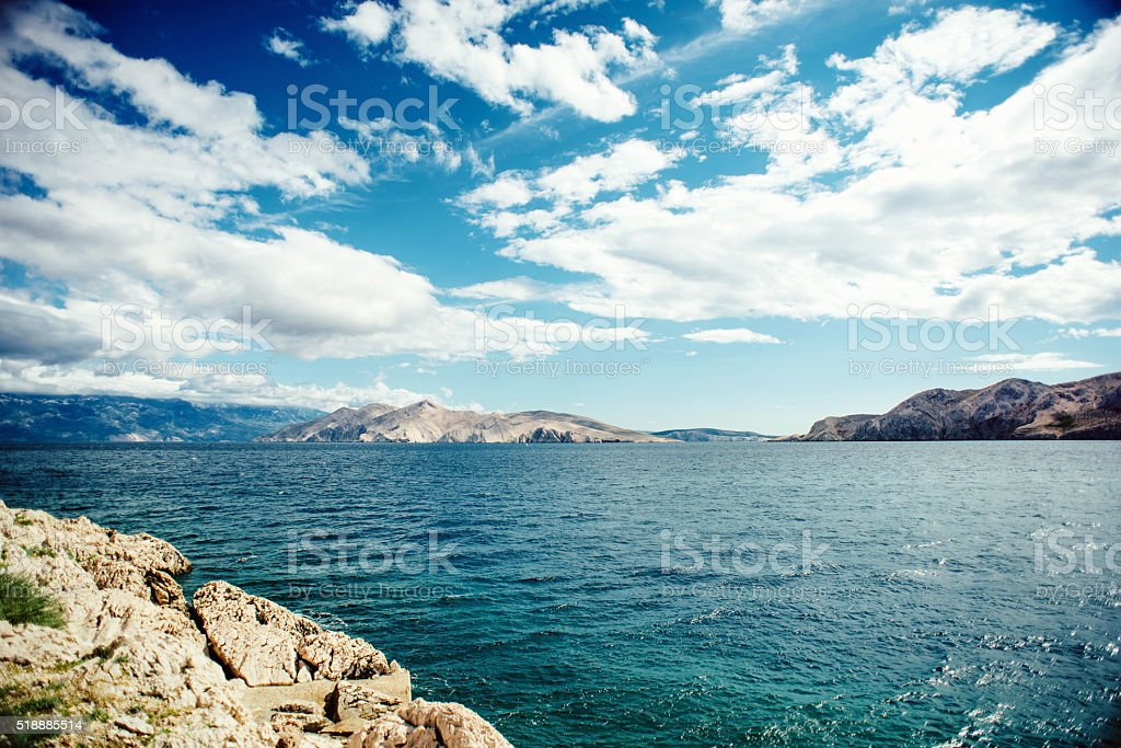 Scenic seaside landscape with cliffs and ocean waves stock photo
