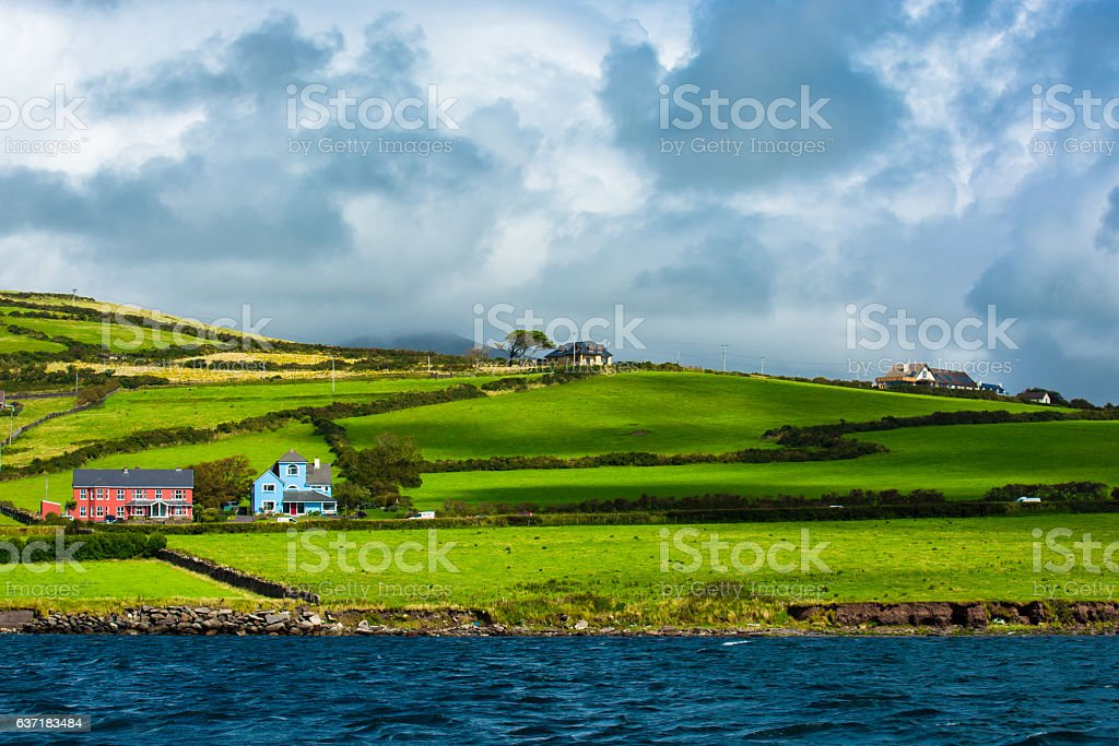 Scenic Settlement at Atlantic Coast of Ireland stock photo