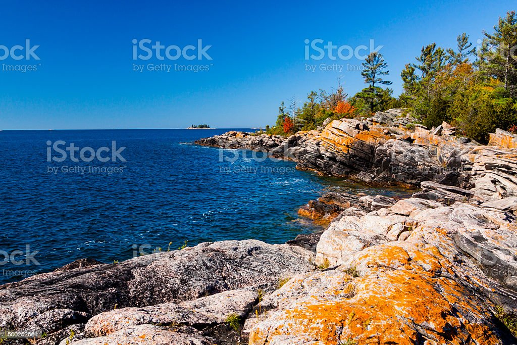 Scenic Shoreline of a Small Island in Northern Ontario stock photo