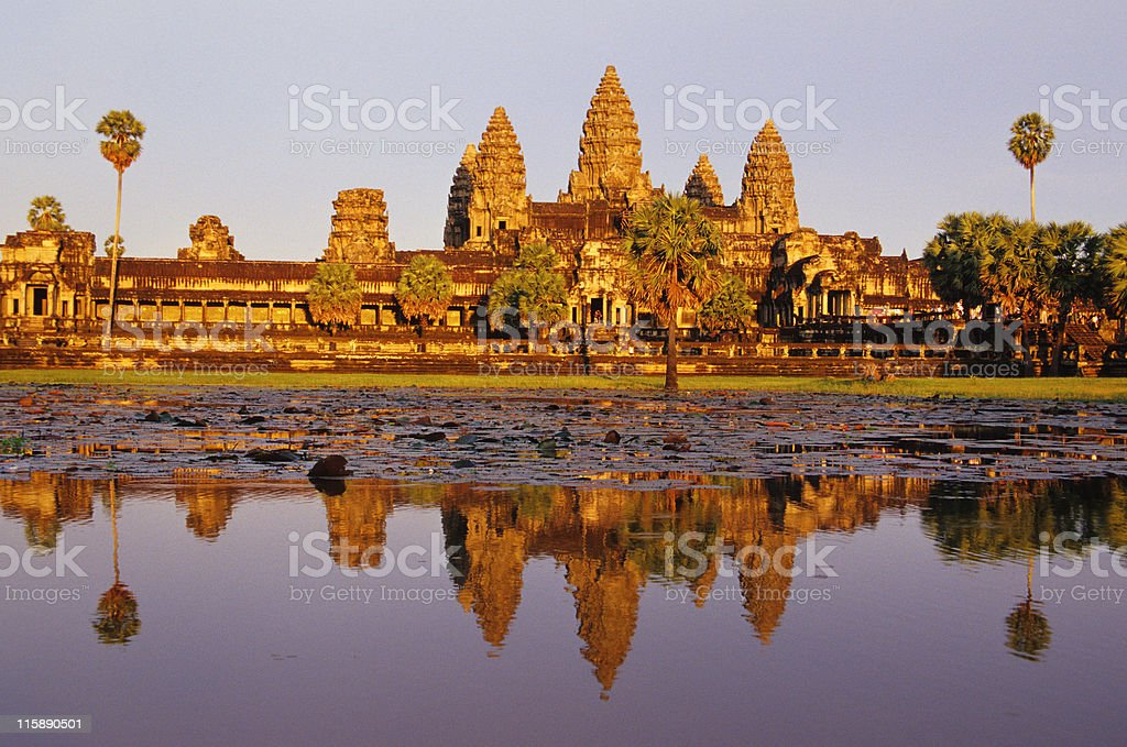 Scenic shot capturing the beauty of Angkor Wat in Cambodia stock photo