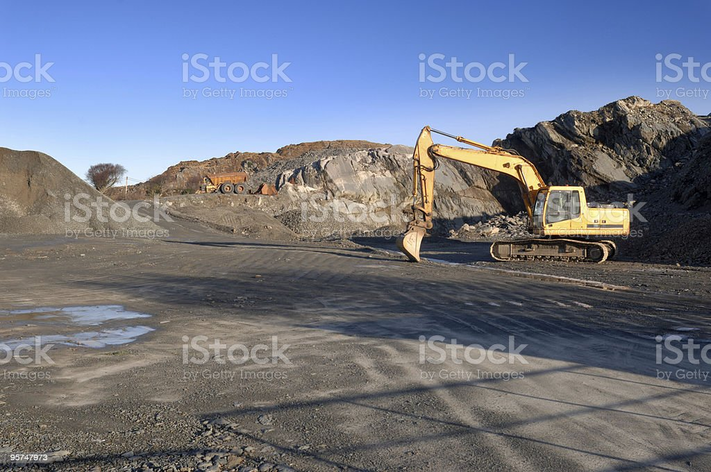 Scenic shot of a quarry being dug stock photo