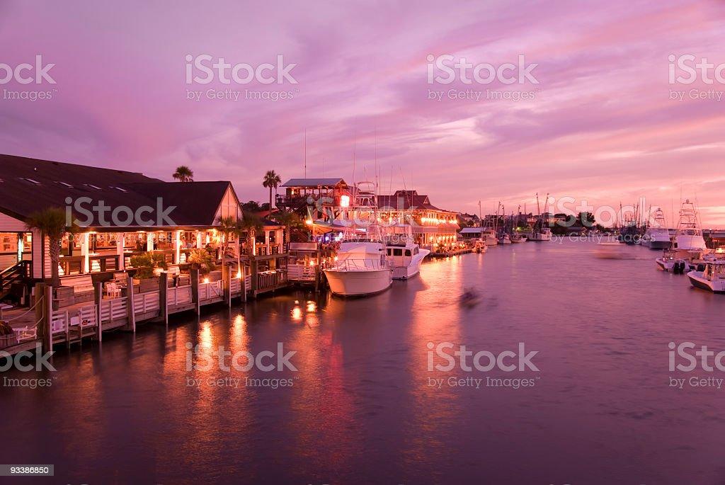 Scenic shot overlooking a calm marina at dusk royalty-free stock photo