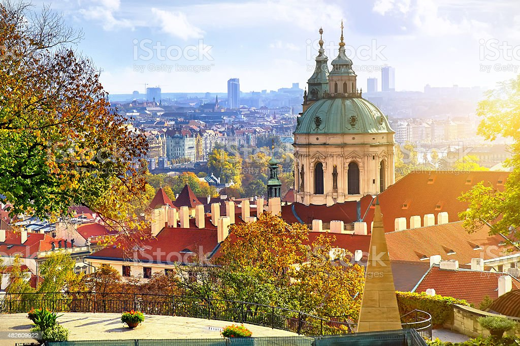 Scenic summer aerial panorama of the Old Town in Prague stock photo