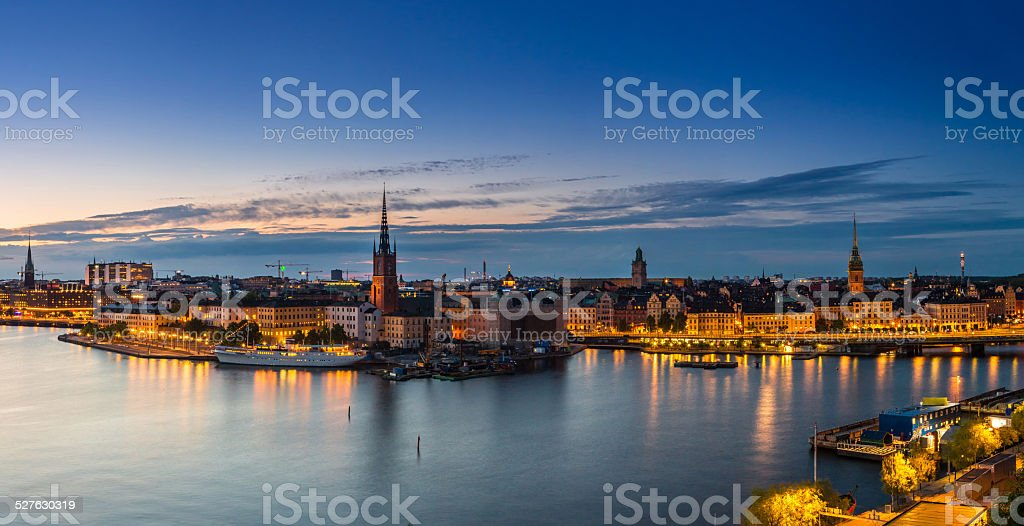 Scenic summer night panorama of  Stockholm, Sweden stock photo