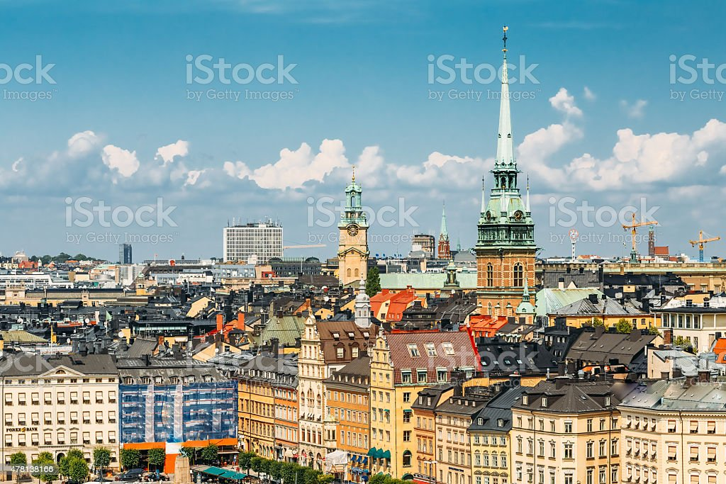 Scenic summer scenery of the Old Town in Stockholm, Sweden stock photo