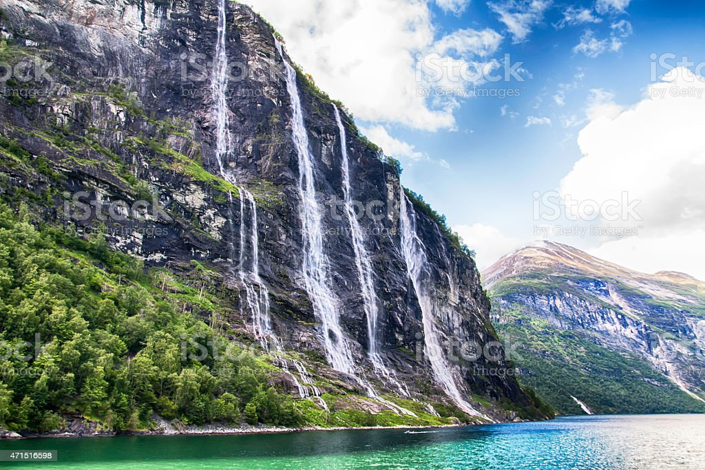 Scenic summer view of Geiranger Fjord waterfall in Norway stock photo