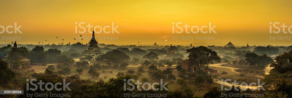 Scenic sunrise above Bagan in Myanmar stock photo