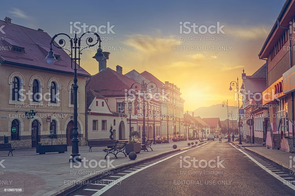 Scenic sunrise urban view stock photo