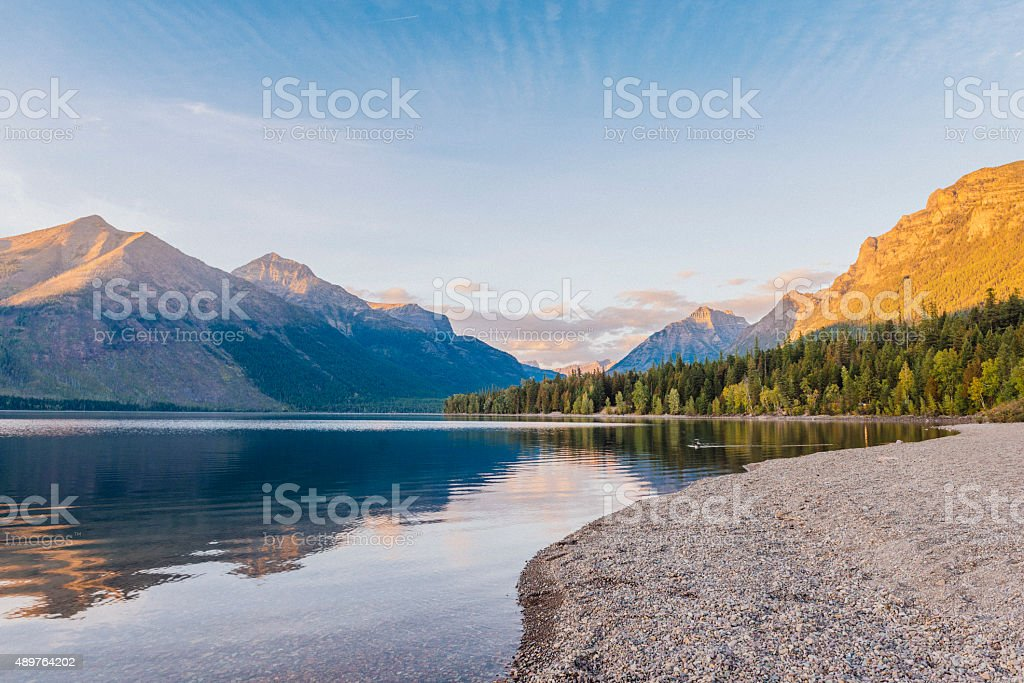 Scenic Sunset Lake McDonald Reflections Glacier National Park Montana stock photo