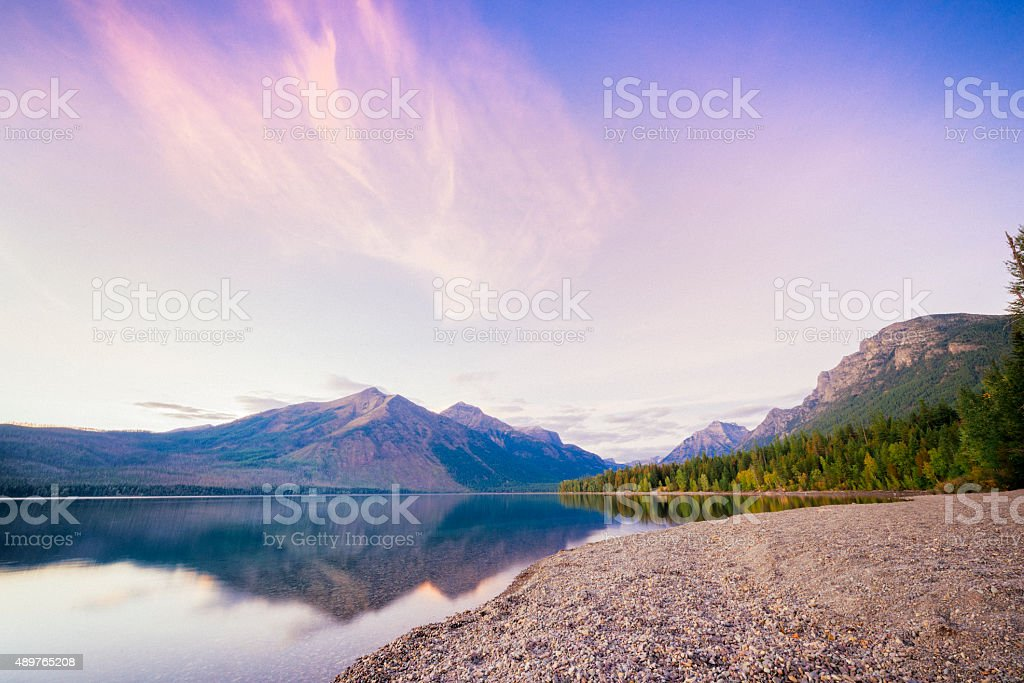 Scenic Sunset Lake McDonald Reflections Glacier National Park Montana stock photo