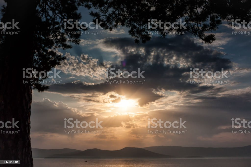 Scenic sunset on the lake stock photo