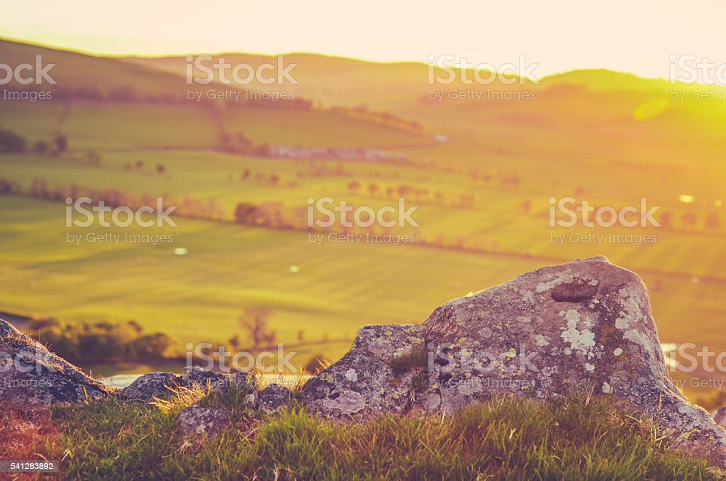 Scenic Sunset Scottish Countryside stock photo