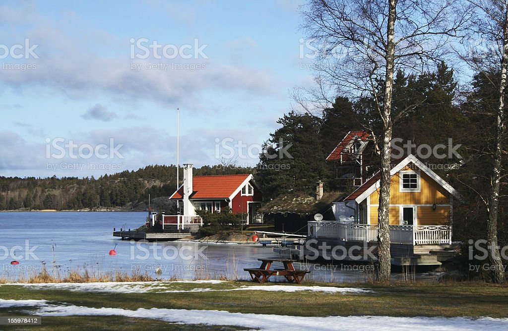 Scenic Swedish houses stock photo