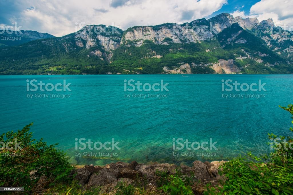 Scenic Swiss Lake Brienz stock photo