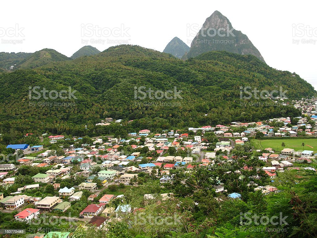 scenic town of soufriere with pitons in background stock photo