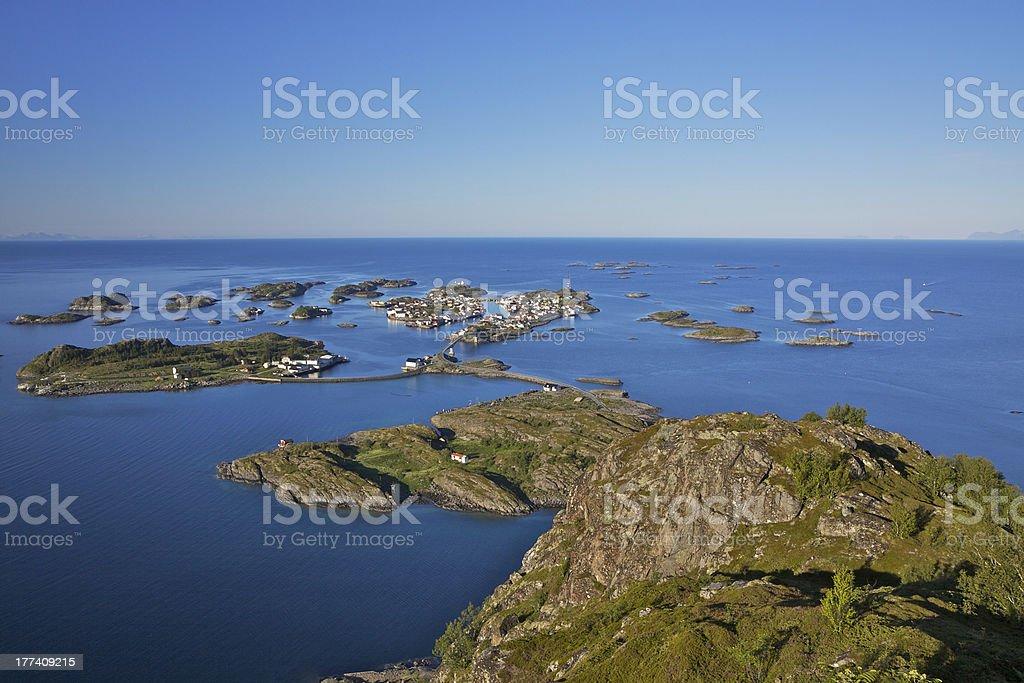 Scenic town on Lofoten royalty-free stock photo