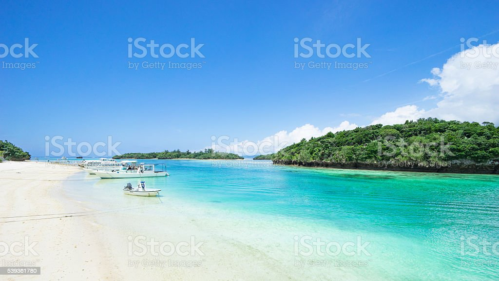 Scenic tropical beach with clear water, Okinawa, Japan stock photo