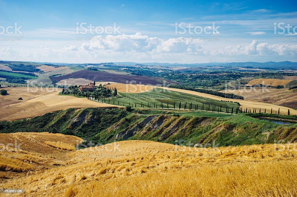 Scenic Tuscany landscape, Italy stock photo