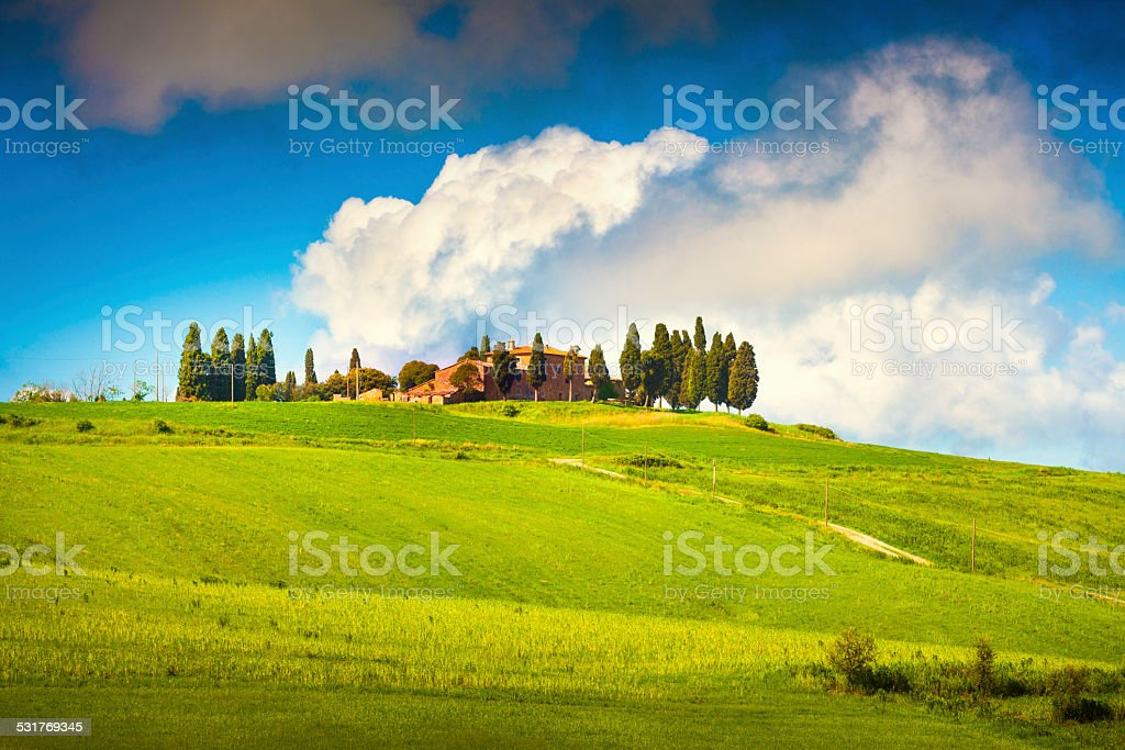 Scenic Tuscany landscape stock photo