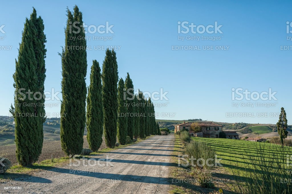 VAL D`ORCIA, TUSCANY-ITALY, OCTOBER 30, 2016: Scenic Tuscany landscape with rolling hills and valleys in autumn, Val D'Orcia, Italy stock photo
