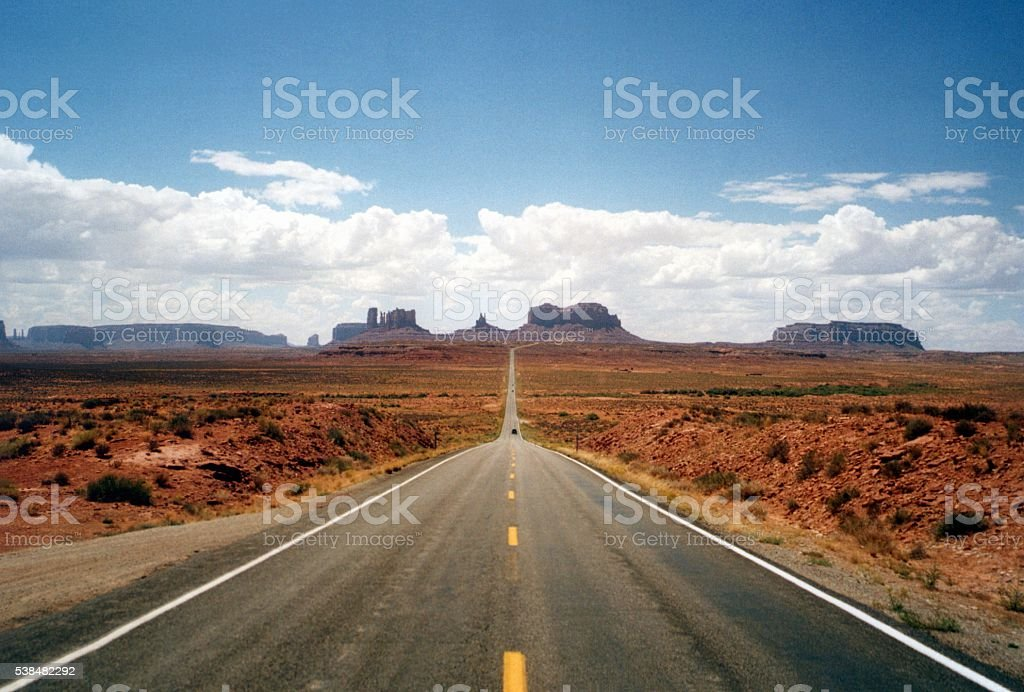 Scenic US Route 163 towards Monument Valley, Arizona-Utah stock photo