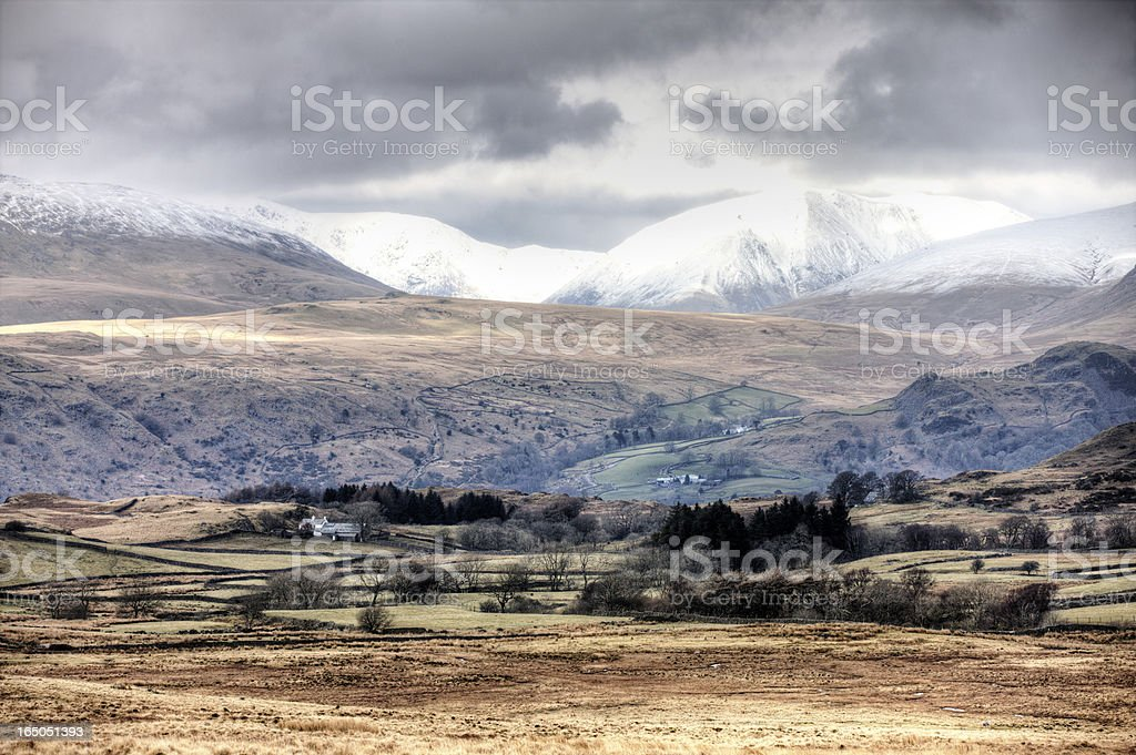 Scenic view across Cumbrian winter moorland royalty-free stock photo