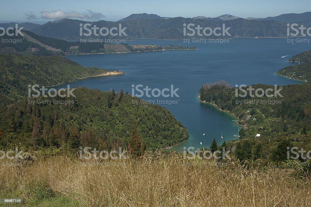 Scenic view across Marlborough Sounds. stock photo