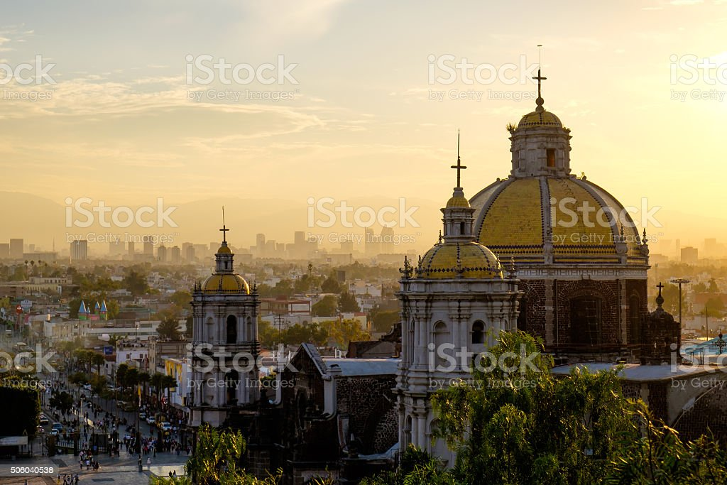 Scenic view at Basilica of Guadalupe with Mexico city skyline royalty-free stock photo