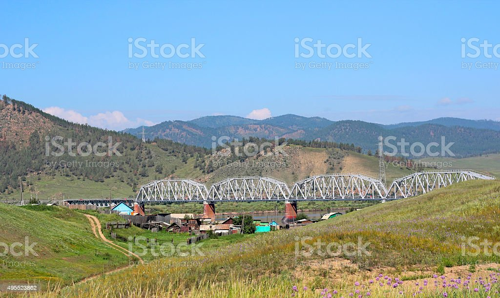 Scenic view at  railway bridge and mountain landscape. stock photo