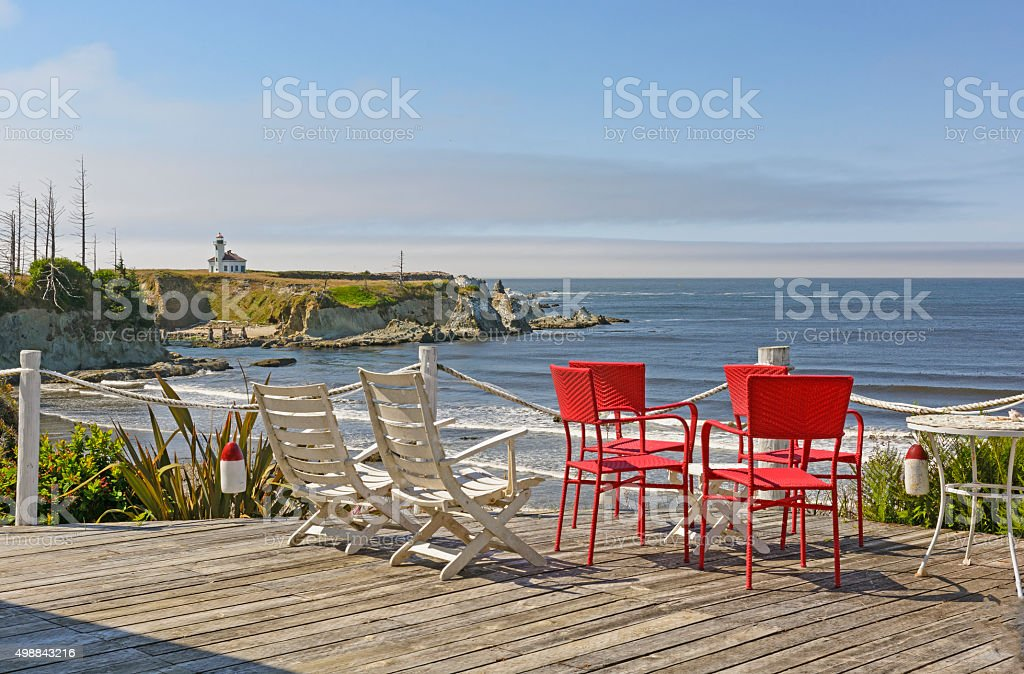 Scenic View from a Seaside Balcony stock photo