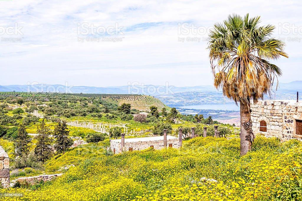 Scenic view from Gadara ruins hilltop, Jordan stock photo
