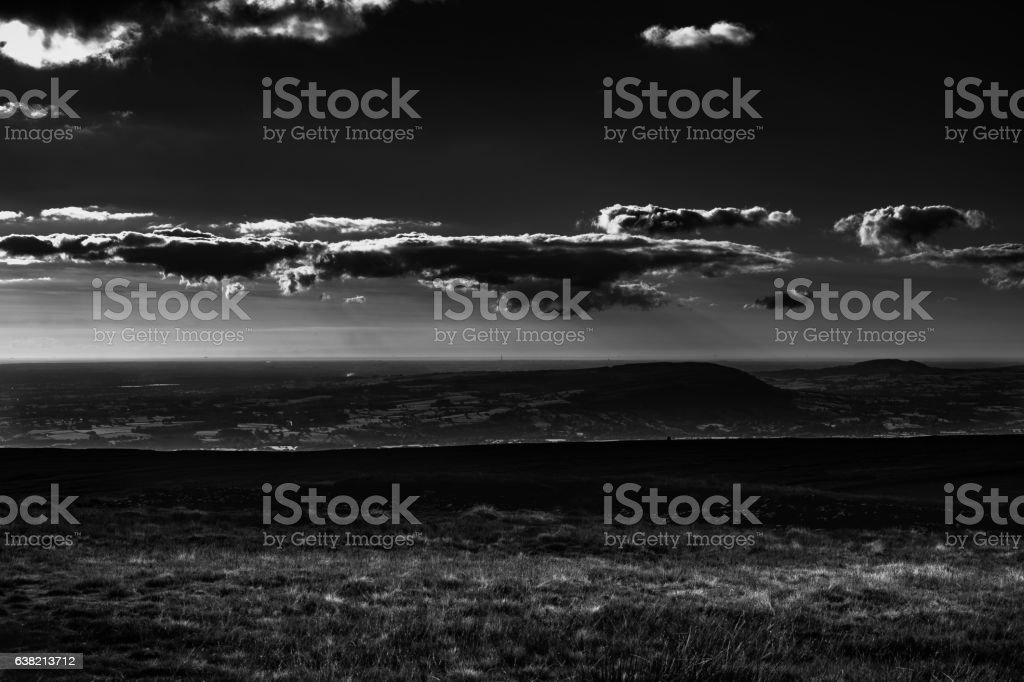 Scenic view from Pendle Hill, West stock photo