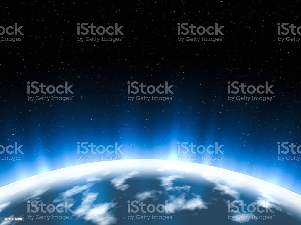 Scenic view from the universe of Earth glowing stock photo