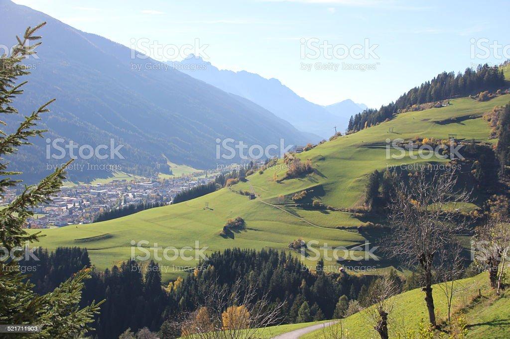 Scenic View in Heinfels, Osttirol, Austria during fall season stock photo