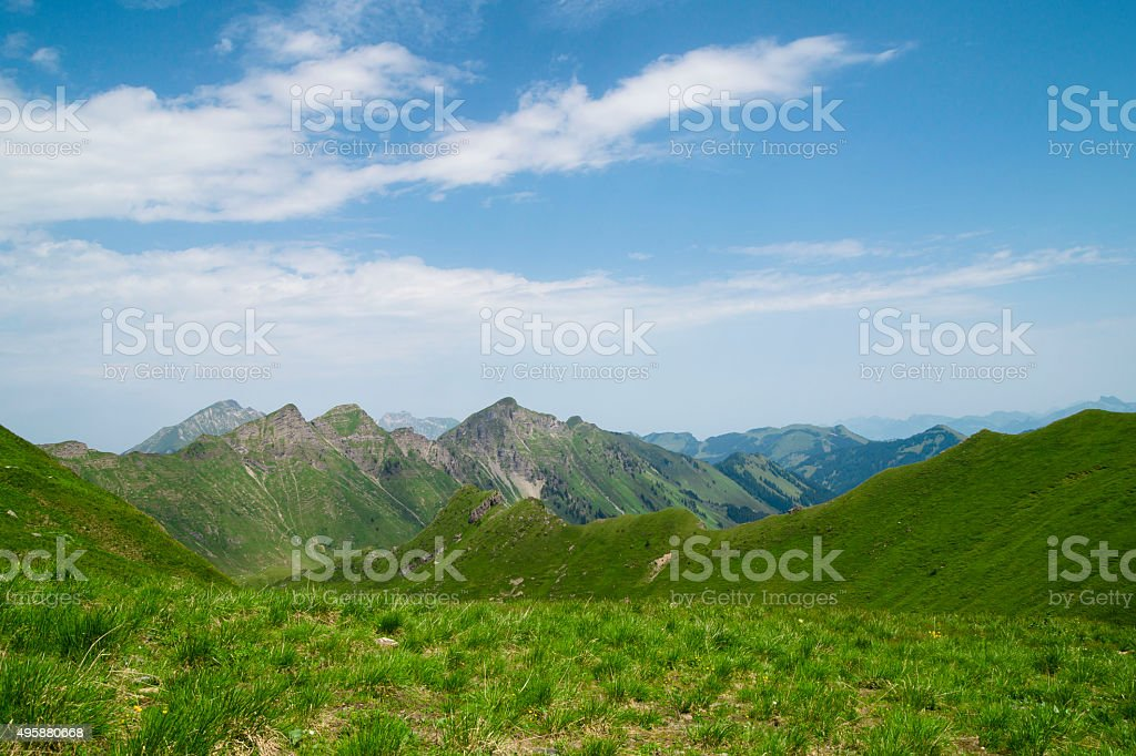 Scenic view in the Swiss Alps stock photo