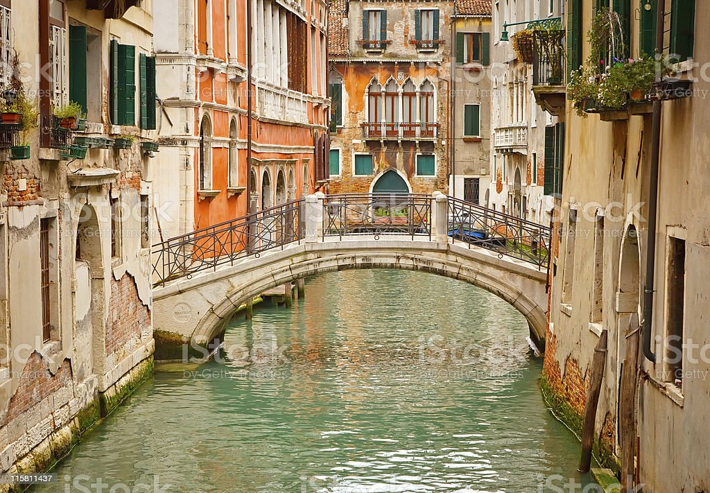 Scenic view of a canal in Venice stock photo