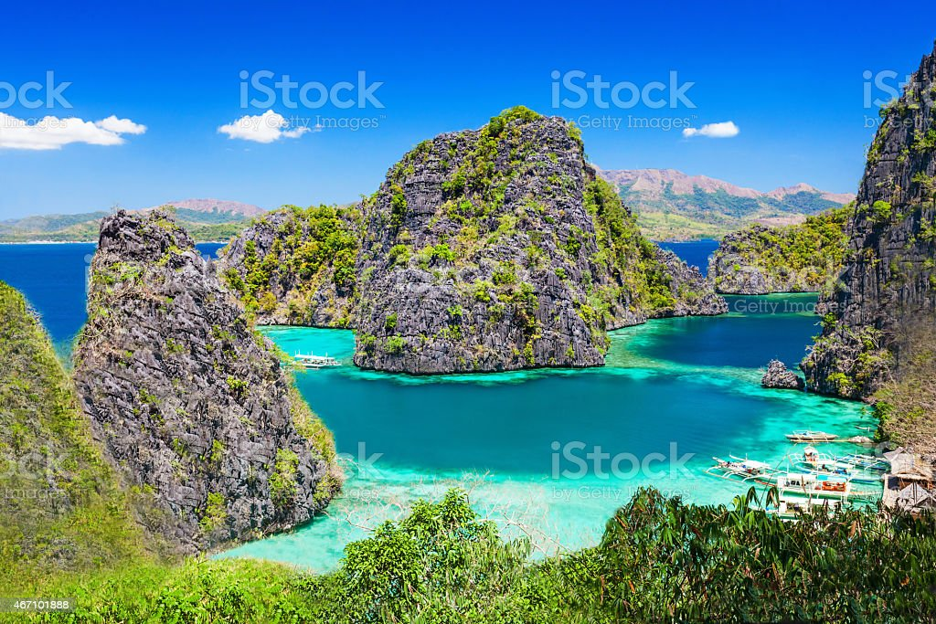 Scenic view of a clear water blue lagoon stock photo