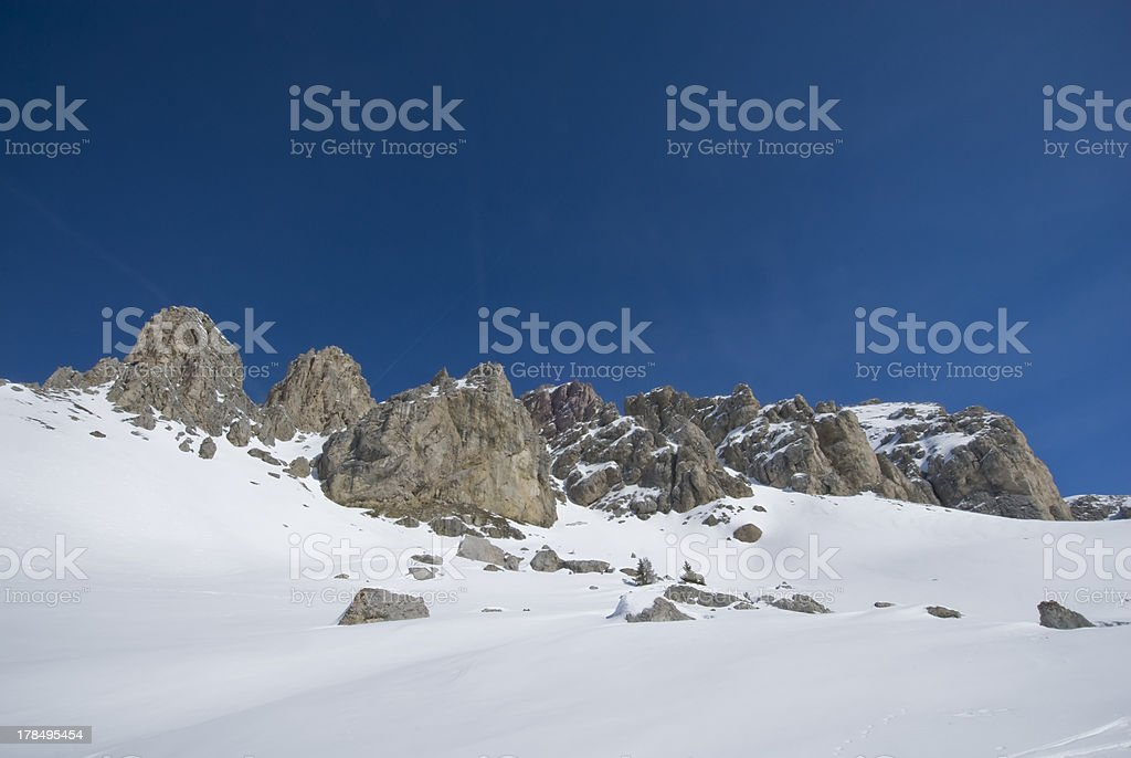 Scenic view of a mountain range in winter. royalty-free stock photo