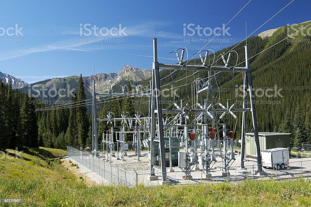 Scenic view of a mountainous power substation stock photo