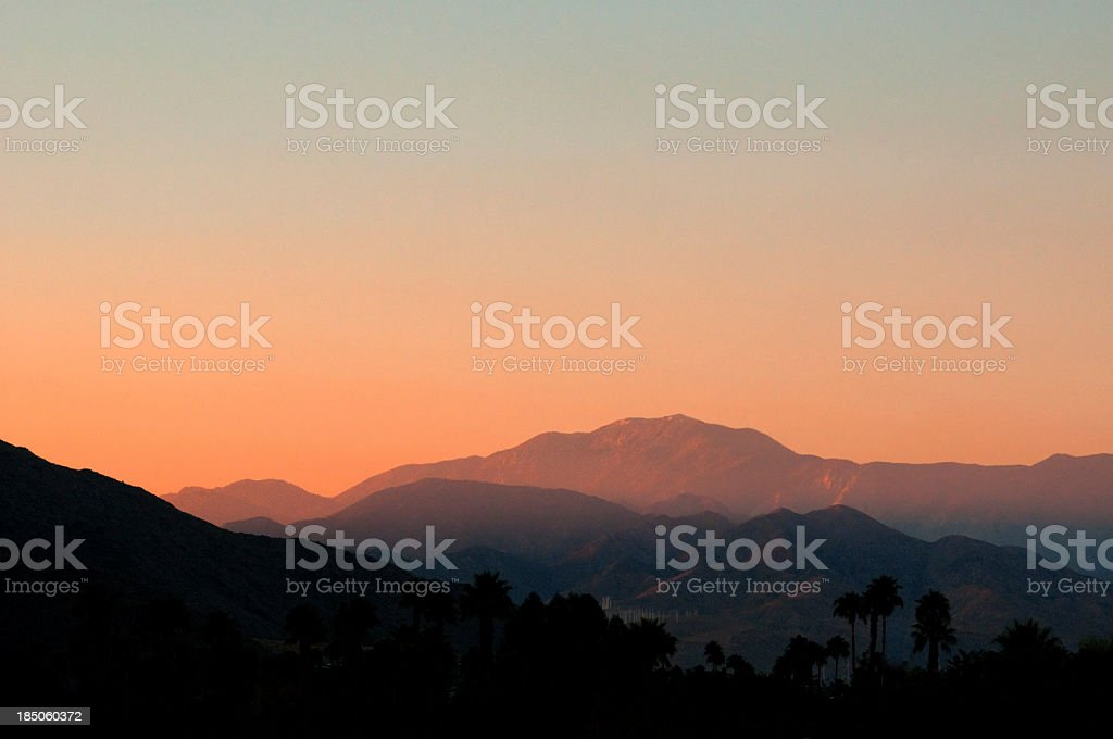 Scenic view of a sunset in San Jacinto Mountain Palm Springs stock photo