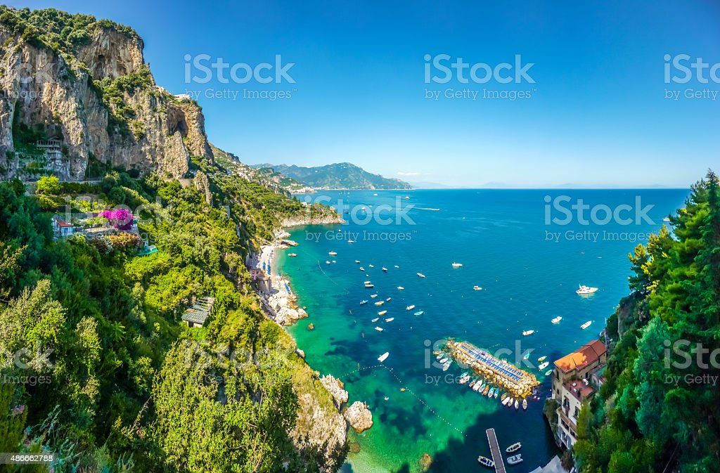 Scenic view of Amalfi Coast, Campania, Italy stock photo