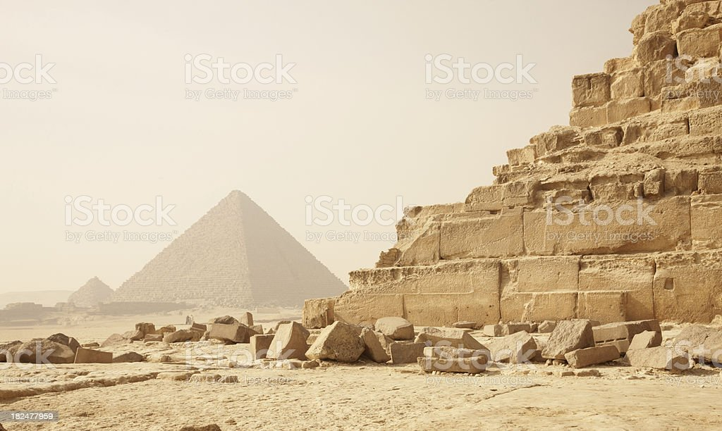 Scenic view of an ancient Egyptian pyramid royalty-free stock photo