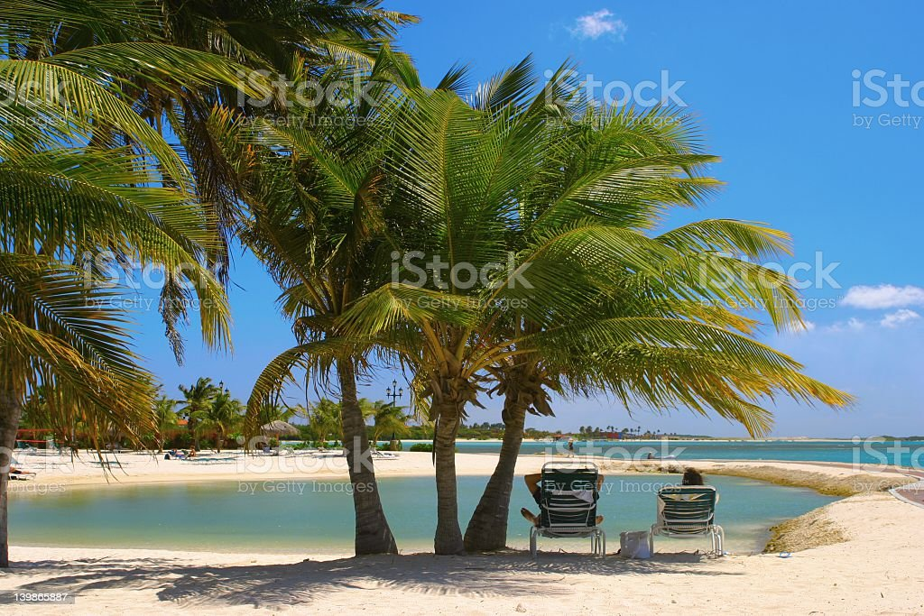 Scenic view of an Aruba beach with palms and lounge chairs stock photo