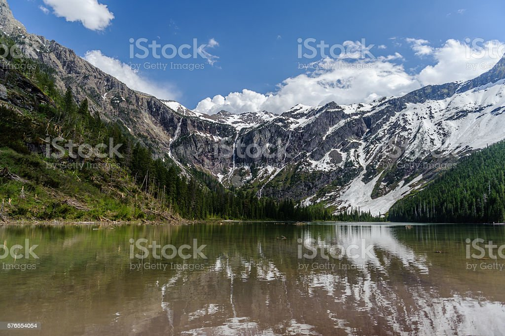 Scenic view of Avalanche Lake and glaciers stock photo