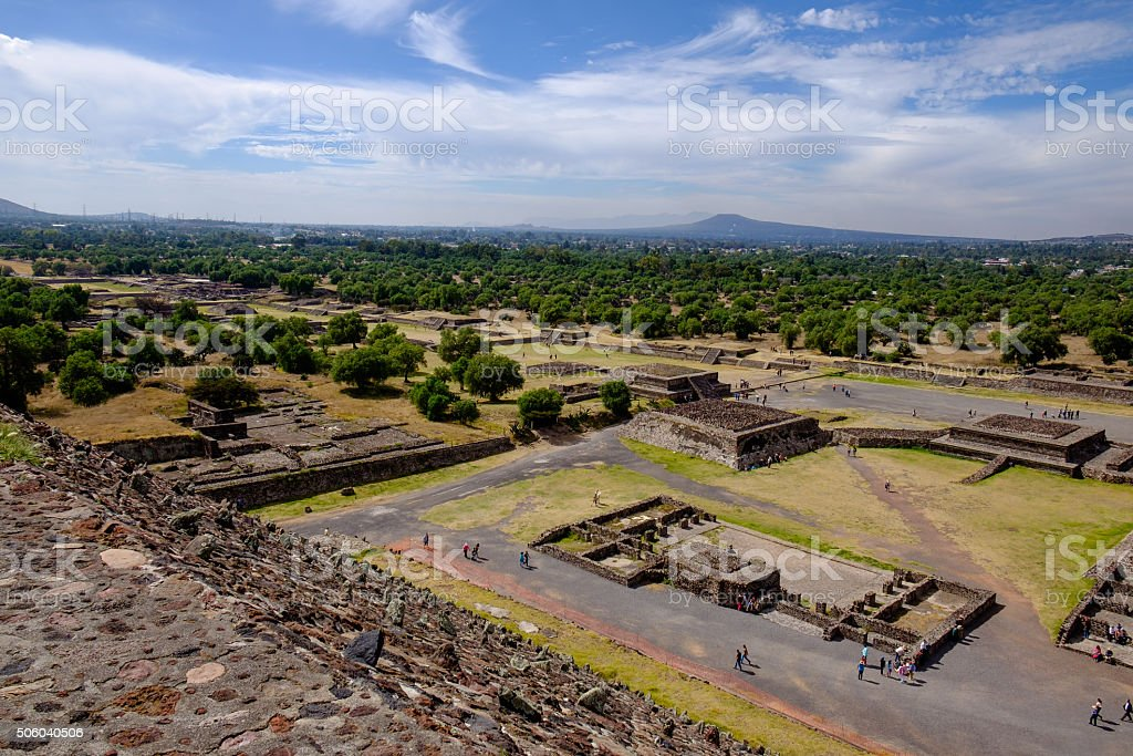 Scenic view of Avenue of dead in Teotihuacan, Mayan pyramids stock photo